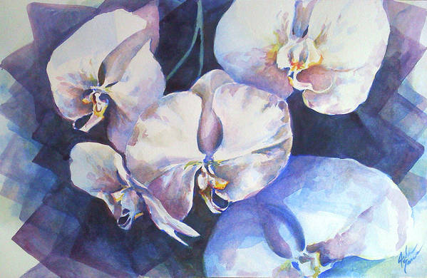 Orchid Art Print featuring the painting Orchid Study With Squares by Julie Morrison