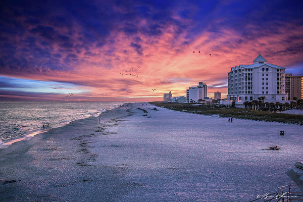 Brent Shavnore Pensacola Beach Sunset Emerald Coast Escambia County Art Print featuring the digital art Pensacola Beach Vibrant Sunset by Brent Shavnore