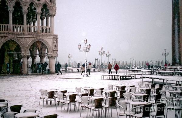 Venice Art Print featuring the photograph Piazzetta San Marco In Venice In The Snow by Michael Henderson