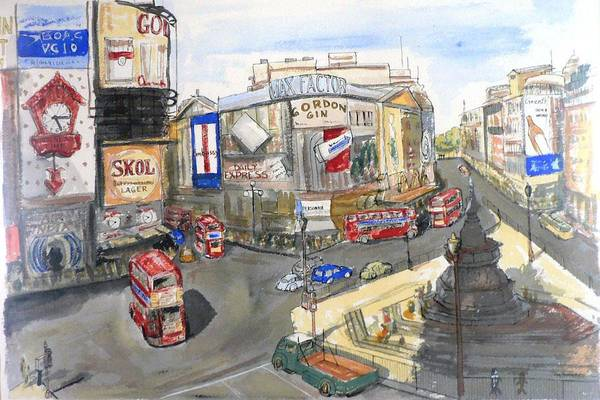 Street Scene Art Print featuring the painting Picadilly Circus by Dan Bozich