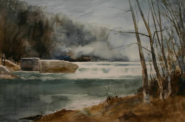 Landscape Art Print featuring the painting Picketts Dam by Don Cull