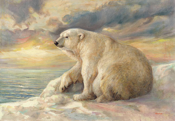 Polar Bear Art Print featuring the painting Polar Bear Rests On The Ice - Arctic Alaska by Svitozar Nenyuk