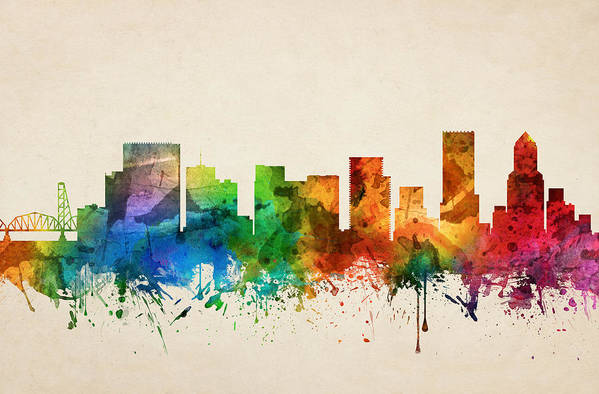 Portland Art Print featuring the painting Portland Oregon Skyline 05 by Aged Pixel
