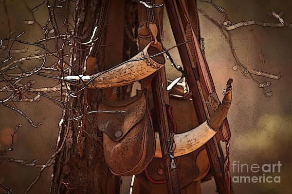 Black Powder Horns Art Print featuring the photograph Primitive Arsenal by Kim Henderson