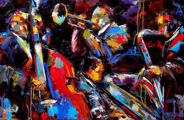 Jazz Paintings Art Print featuring the painting Quartet by Debra Hurd