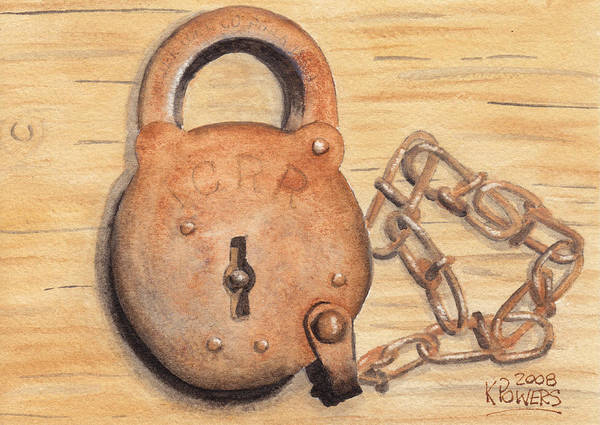 Lock Art Print featuring the painting Railroad Lock by Ken Powers