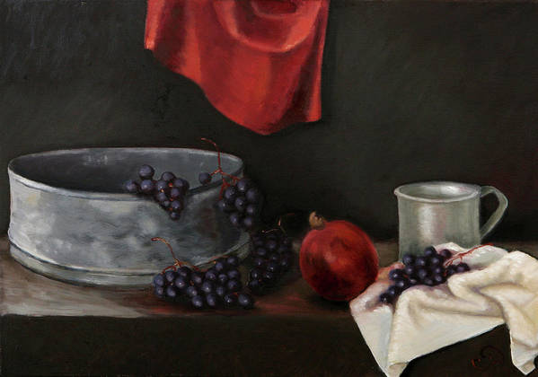 Still-life Dark Brown Red Grapes Blue Drapery Art Print featuring the painting Red Grapes by Raimonda Jatkeviciute-Kasparaviciene