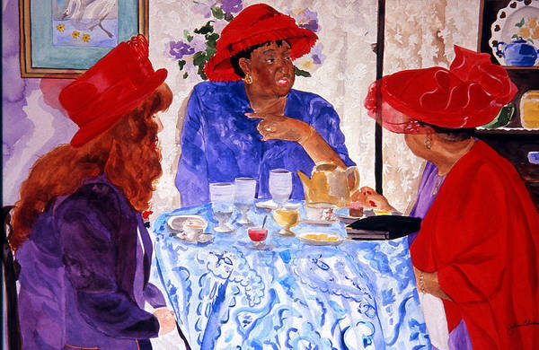 Red Hat Art Print featuring the painting Red Hatters Chatter by Jean Blackmer