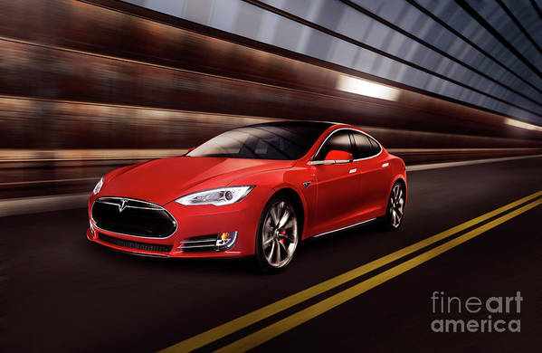 Tesla Art Print featuring the photograph Red Tesla Model S Red Luxury Electric Car Speeding In A Tunnel by Maxim Images Prints