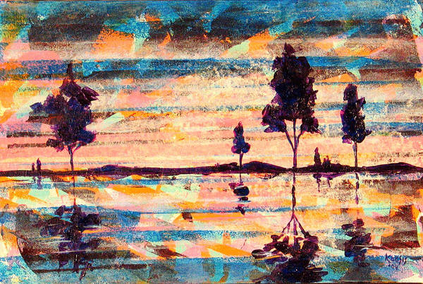 Water Art Print featuring the painting Reflections by Rollin Kocsis