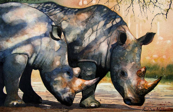 Rhino Art Print featuring the painting Rhinos in dappled shade. by Paul Dene Marlor