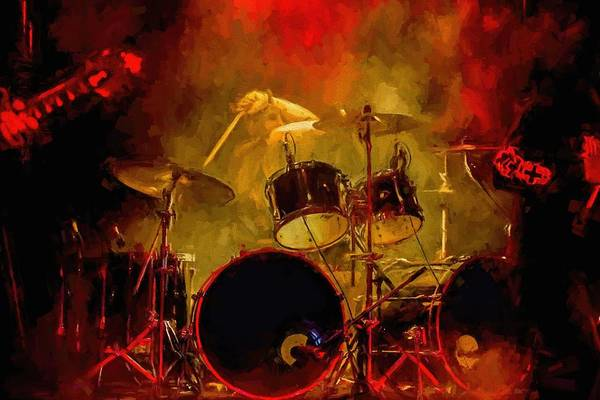 Rock And Roll Drum Solo # Rock And Roll # Drum Set # Rock And Roll Drum Paintings # Abstract Music Art # Zildjian # Drum Solo Painting # Concert # Smoke # Fog # Art Print featuring the digital art Rock And Roll Drum Solo by Louis Ferreira