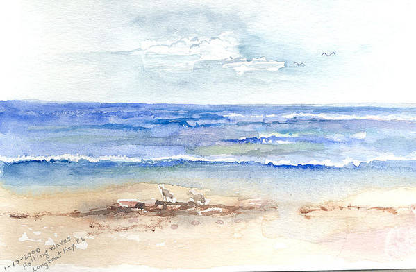 Rolling Waves Art Print featuring the painting Rolling Waves Beach by Rebecca Marona