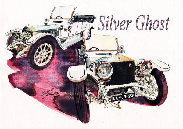 Rolls Royce Silver Ghost (1911) Art Print featuring the painting Rolls Royce Silver ghost             by Yoshiharu Miyakawa