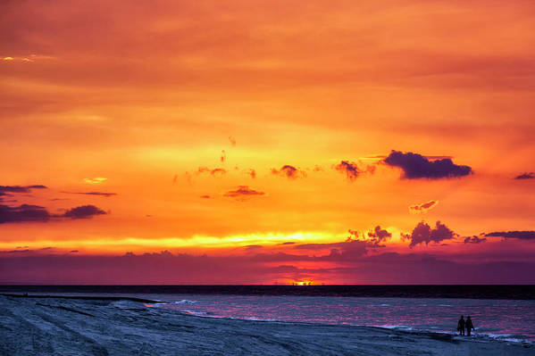 Romantic Sunset At The Cuban Beach; Cuban; Cuba; Sunset; Beach; Couple; Beach; Sand; Sea; Seaside; Shore; Clouds; Sun; Romance; Romantic; Colourful; Hope; Faith; Love; Happiness; Photography & Digital Art; Photography; Photo; Photo Art; Art; Digital Art; 2bhappy4ever; 2bhappy4ever.com; 2bhappy4evercom; Tobehappyforever; Art Print featuring the photograph Romantic Sunset at the Cuban Beach by Erron