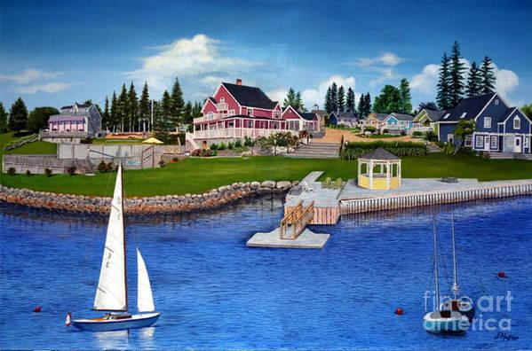 Landscape Art Print featuring the painting Rosewood Cottages Nova Scotia by Donald Hofer
