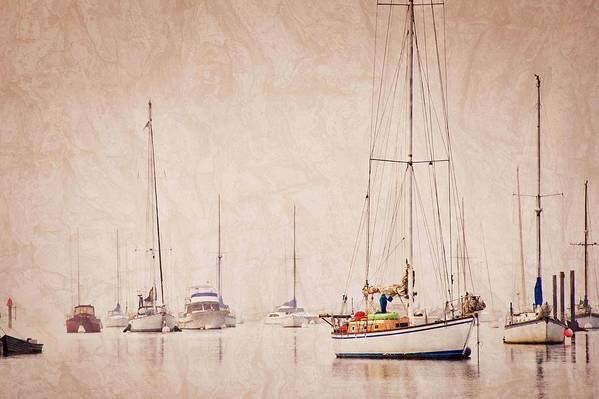 Sailboats Art Print featuring the photograph Sailboats in Morro Bay Fog by Zayne Diamond Photographic