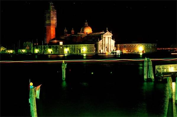 Venice Art Print featuring the photograph San Georgio Maggiore in Venice at Night by Michael Henderson