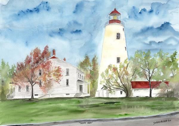 Watercolor Art Print featuring the painting Sandy Hook Lighthouse by Derek Mccrea