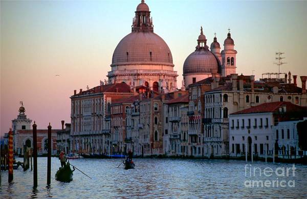 Venice Art Print featuring the photograph Santa Maria Della Salute On Grand Canal In Venice In Evening Light by Michael Henderson