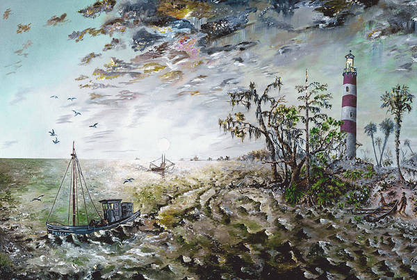 Lighthouse Art Print featuring the painting Sapelo Island by Richard Barham