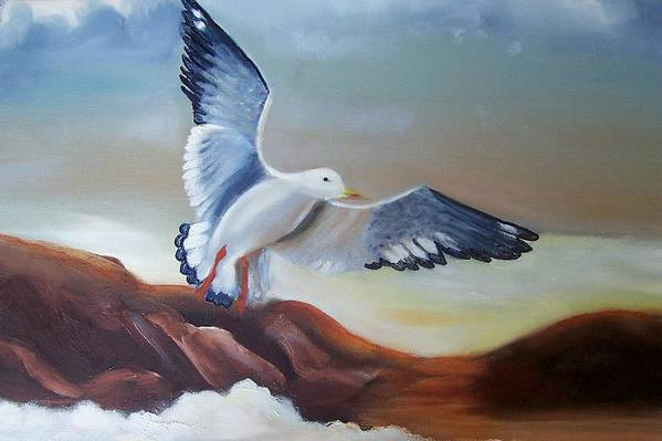 Birds Art Print featuring the painting Seagull Landing by Martha Mullins