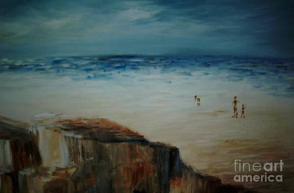 Water Art Print featuring the painting Seashore by Vi Mosley