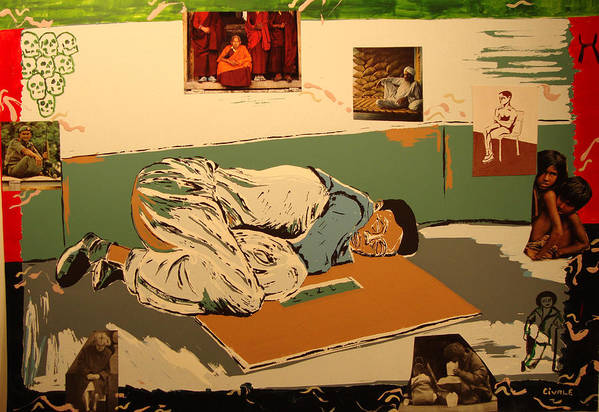 Art Print featuring the painting Slleeping outdoors and children by Biagio Civale