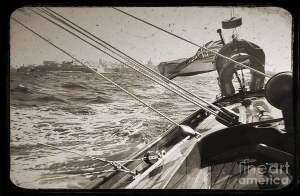 Valetta Malta Sailboat Harbor Solway Maid Dustin Ryan Water Buildings Black And White Art Print featuring the photograph Solway Maid Leaving Malta by Dustin K Ryan