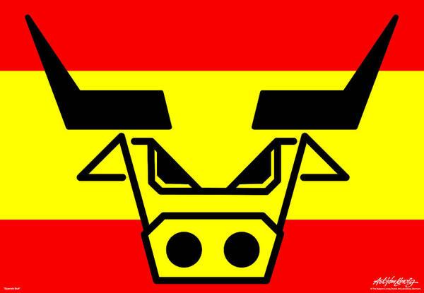 Spanish Bull Art Print featuring the digital art Spanish Bull by Asbjorn Lonvig
