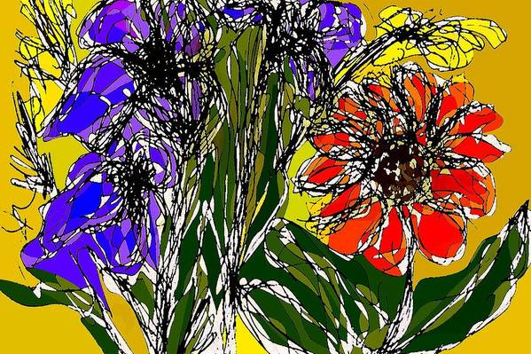 Drawing Art Print featuring the digital art Spring bouquet by Joseph Ferguson