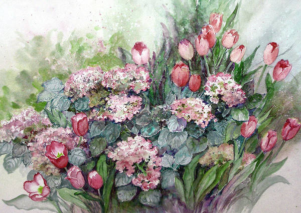 Tulips;spring;hydrangea;floral;flowers;watercolor Painting; Art Print featuring the painting Spring Forth in Beauty by Lois Mountz