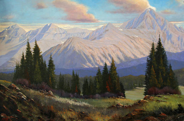 Landscape Art Print featuring the painting Spring On The Dallas Divide 070809-3624 by Kenneth Shanika
