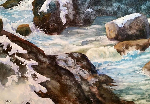 Waterfall Art Print featuring the painting Spring Thaw by Sharon E Allen