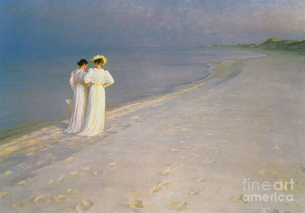 Kroyer Art Print featuring the painting Summer Evening on the Skagen Southern Beach with Anna Ancher and Marie Kroyer by Peder Severin Kroyer