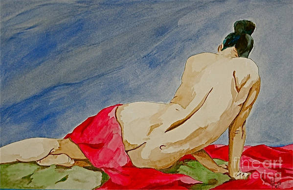 Nudes Red Cloth Art Print featuring the painting Summer morning 2 by Herschel Fall