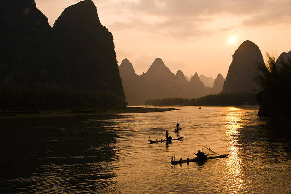 Asia Art Print featuring the photograph Sunset on the Li River by Michele Burgess