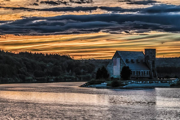 Landscape Art Print featuring the photograph Sunset on The Old Stone Church by Bob Bernier