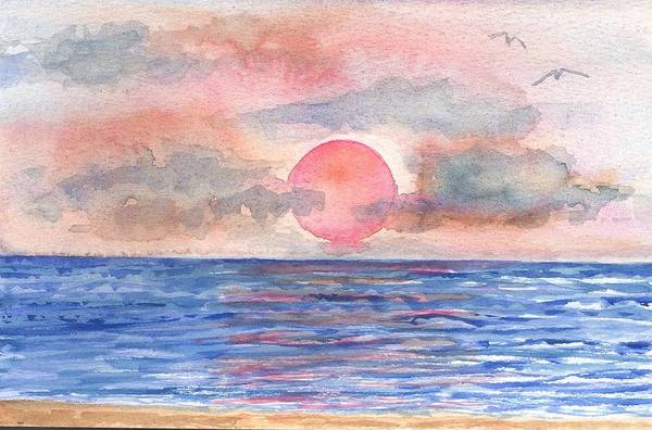 Sun Art Print featuring the painting Sunset by Rebecca Marona