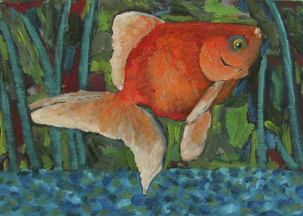 Fish Art Print featuring the painting The Goldfish Bowl by Susan Spohn
