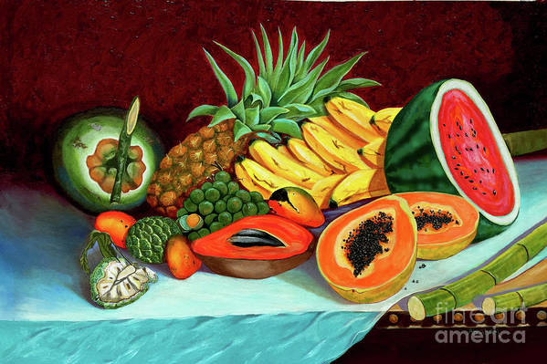 Coconut Art Print featuring the painting Tropical Fruits by Jose Manuel Abraham
