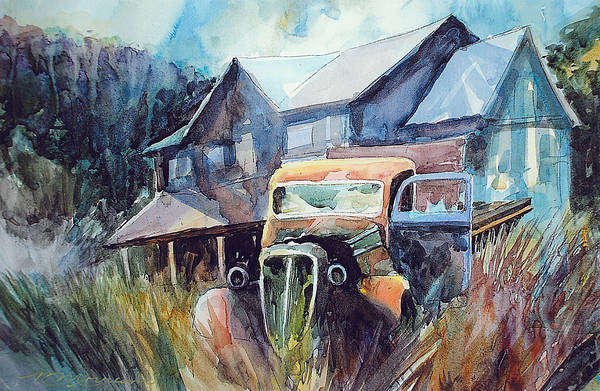 House Truck Grass Art Print featuring the painting Truck in the Tall Grass by Ron Morrison