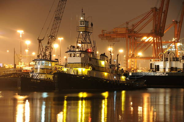 Tugboat Fog Maritime Shipping Boat Ship Marine Night Water Ocean Art Print featuring the photograph Tugboat in the fog by Alasdair Turner