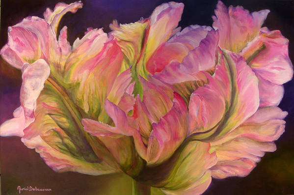 Floral Painting Art Print featuring the painting Tulipe Explosee by Muriel Dolemieux