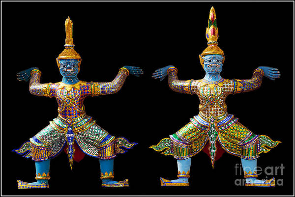 God Buddhism Thailand Culture Color Art Print featuring the photograph Two Gods by Ty Lee