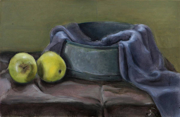 Still-life Apples Green Art Print featuring the painting Two Green Apples by Raimonda Jatkeviciute-Kasparaviciene