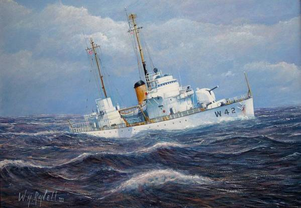 Marine Art Art Print featuring the painting U. S. Coast Guard Cutter Sebago Takes a Roll by William Ravell