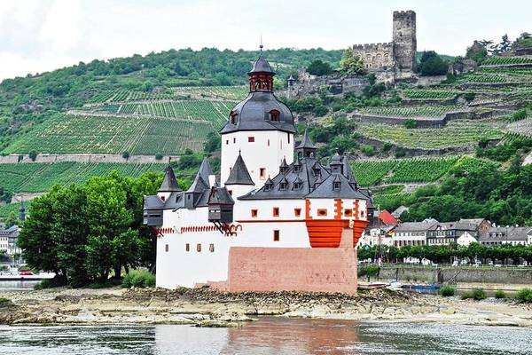 Rhine River Art Print featuring the photograph Vertical Vineyards and Buildings on the Rhine by Kirsten Giving