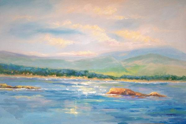 Pebble Beach Art Print featuring the painting View From Pebble Beach Grille by Ginger Concepcion