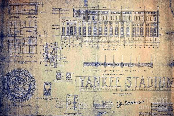 Joe Dimaggio Art Print featuring the drawing Vintage Yankee Stadium Blueprint by Peter Ogden Gallery
